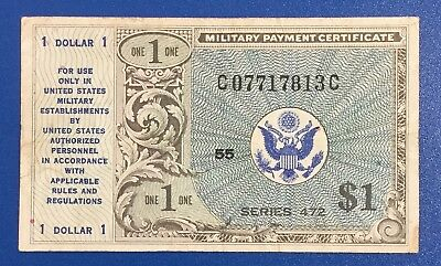 MPC $1 Military Payment Certificate Series 472 FINE! Old US Currency!