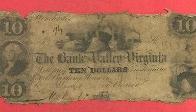 """1800s $10 Winchester VIRGINIA """" LARGE SIZE"""" Currency! Old US Paper Money Currenc"""