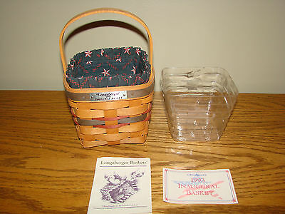 INAUGURAL Series Longaberger Collection Basket Set 1993 Family Signed Pewter Tag