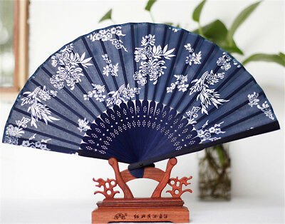 Chinese/Japanese Design Silk Handheld Folding Fan Bamboo Silk Flower Pattern