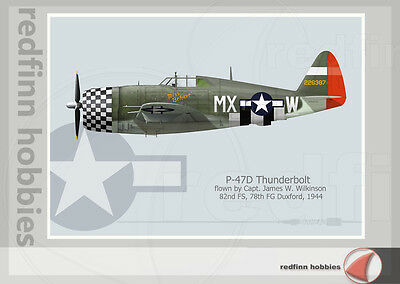 Warhead Illustrated P-47D Thunderbolt 82nd FS, Miss Behave Aircraft Print