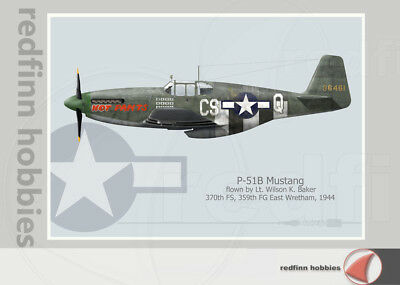 Warhead Illustrated P-51B Mustang 370th FS, Hot Pants Aircraft Print