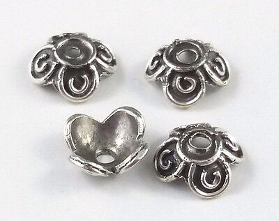 4 x Flower Sterling Silver Antiqued 8mm Bead Caps for Jewellery Making (161)