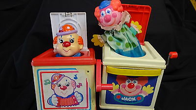 CLOWN JACK-IN-THE BOX BOXES Lot 2 Musical 1987 & 1988 by Mattel Vintage  C