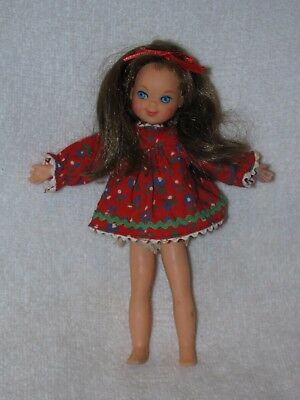 """Vintage Mattel 6"""" Brown Hair Tutti Doll In Tagged Red Flowered Dress"""