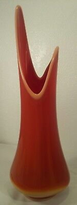 "LE Smith Mid-Century Modern Fayette Flame Orange Swung Slag Glass 19.5"" Vase"