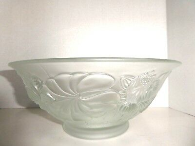 Vintage Barolac Josef Inwald Frosted Water Lilies Centerpiece Bowl Czech
