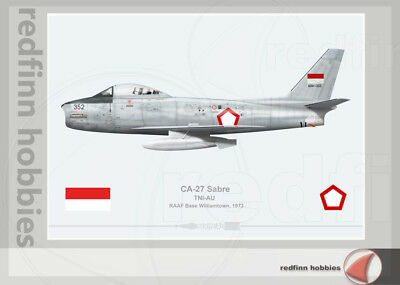 Warhead Illustrated CA-27 Sabre TNI-AU Aircraft Print