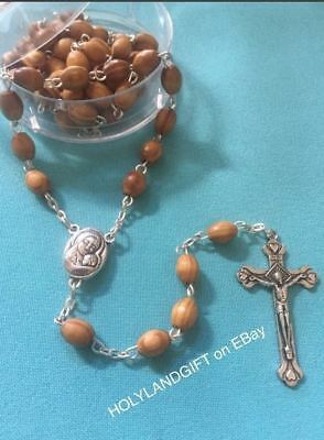 CATHOLIC ROSARY Olive Wood Necklace(in linen pouch) Handmade in Holy Jerusalem