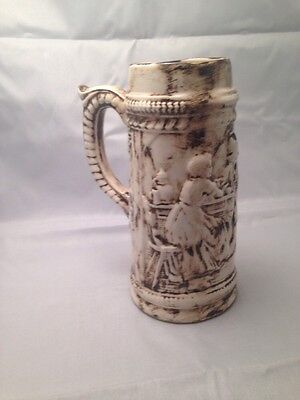 Beer Stein - Cream With Brown Detail And Engraved Image