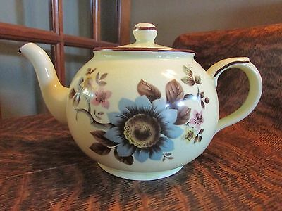 Vintage Arthur Wood Yellow Teapot With Flower