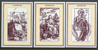 Penrhyn Islands   1981   Scott # 184-186    Mint Never Hinged Souvenir Sheet Set