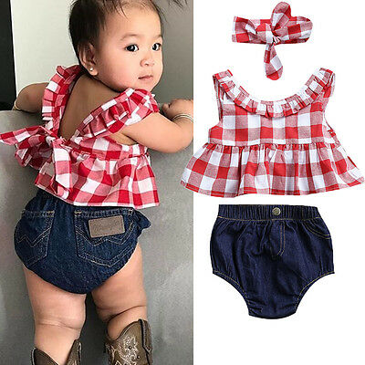 Summer Toddler Baby Girl Lace Backless Plaid Crop Tops Shorts Headband Outfits