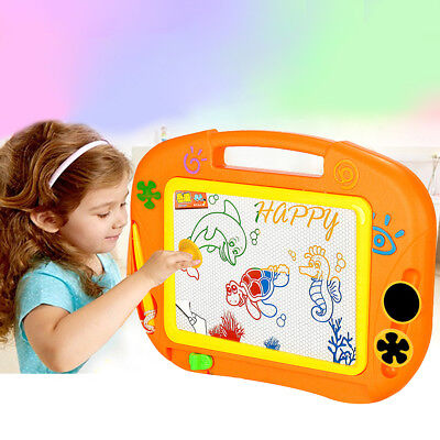 Educational Kids Doodle Toy Erasable Magnetic Drawing Board Pen & Stamper Frugal