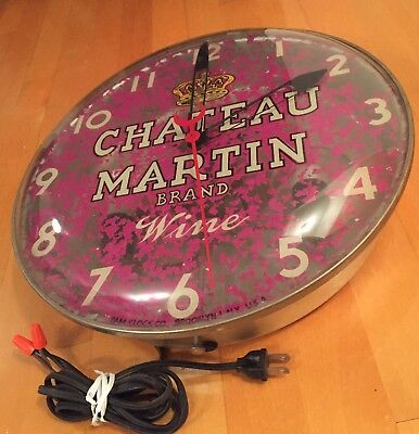 Rare Vintage Bubble Glass Advertising Clock Chateau Martin Wine (not Working)