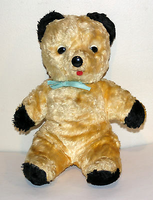 Antique Teddy Bear Vintage Tongue Blue Ribbon button eyes and nose VERY CLEAN