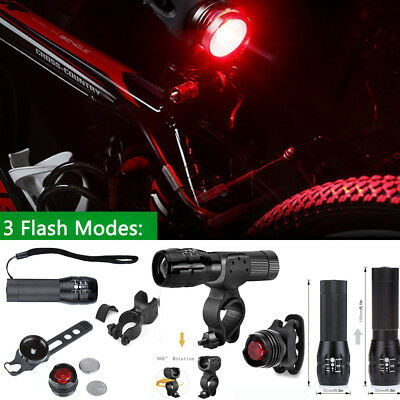 5 LED Lamp Bike Bicycle Front Head Light + Rear Safety Waterproof Flashlight Set
