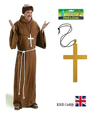 LARGE GOLD MONK CROSS Vicar Priest Nun Clergy Fancy Dress Costume Accessory 23cm