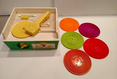 Vintage Complete Sesame Street Record Player Music Box Fisher Price 1984 Works