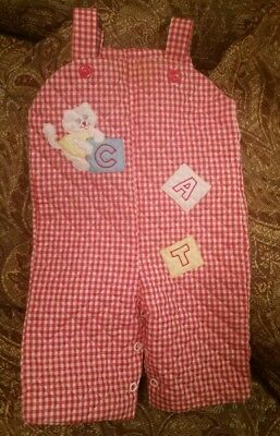 Vintage 70s 80s baby/infant Red White Gingham Checkered Romper 3-6 months EUC