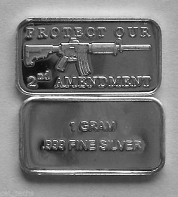 Best Junk Drawer 1 Gram .999 Fine/Pure/Solid Silver, AR-15 2ND AMENDMENT ART-BAR