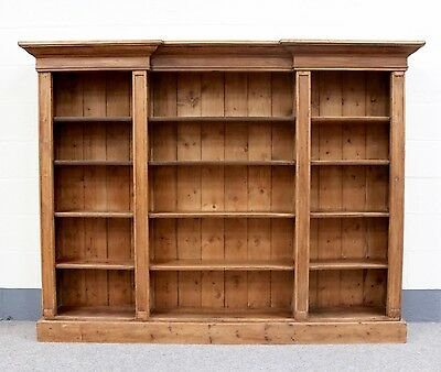 Large Antique Pine Breakfront Bookcase, library book shelves (100416)