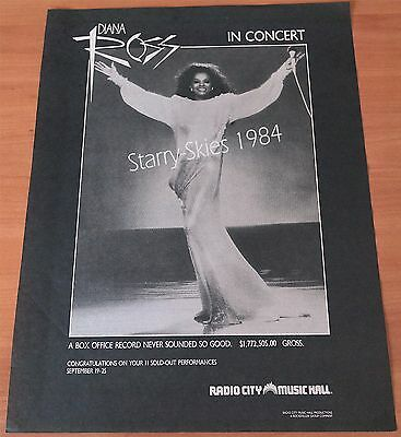 Diana Ross In Concert Radio City Music Hall Box Office Record 1984 Promo Ad