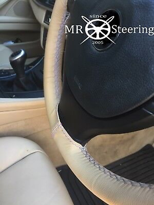Fits Bmw E84 X1 2009-2015 Beige Leather Steering Wheel Cover Grey Double Stitch