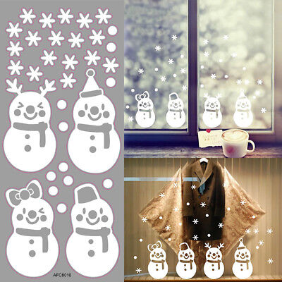 Lovely Window Decoration White Snowflake Merry Christmas Snowman Wall stickers!