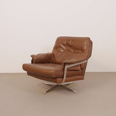 DANISH MID CENTURY ARNE NORELL SWIVEL LOW BACK LEATHER LOUNGE CHAIR 1960s