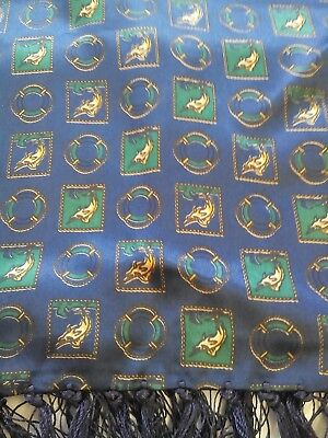 Mens Vintage Silk Scarf in a Blue Green and Red Geometric Nautical Theme Print