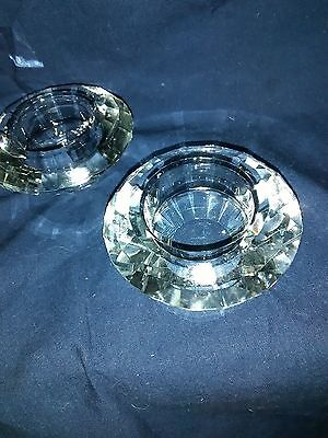 Pair of Lead Crystal  Cut Glass Candle Sticks