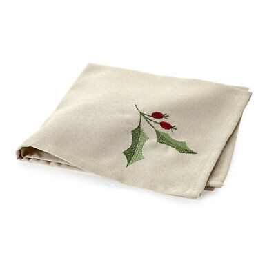 Festive Linen-Look Holly Napkins - Pack of 4