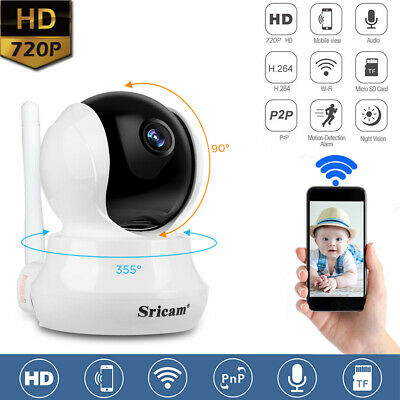 SRICAM Wi-Fi TELECAMERA IP CAMERA HD 720P WIRELESS IR MOTORIZZATA RETE P2P CAM