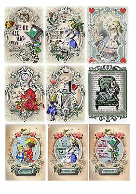 Alice in Wonderland 9 x small images on A4 colour thin tissue decoupage sheet