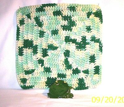Frog #876 42.2930  Ceramic Frog Spoon Rest / Crocheted Utility Cloth