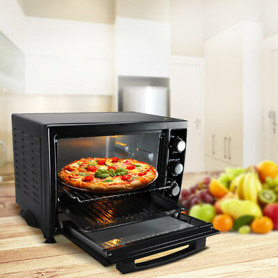 Electric Mini Oven 35L Table Top Cooker Tray Baking Kitchen Convection Black New