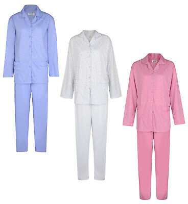 Ladies Pyjama Set Daisies Button Up Long Pyjamas Night Wear Uk 8-18 Bnwt
