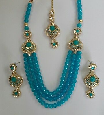 Indian Bollywood Fashion Style Ethnic Gold Plated Ferozee Necklace Jewelry Set