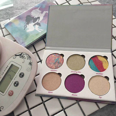 6 Colour Glitter Eyeshadow Alta luce Bella Paletta Unicorn Mermaid