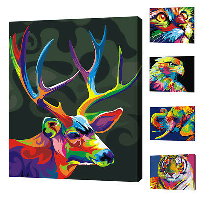 DIY Animals Oil Painting By Numbers Frameless Paint Canvas Wall Art Salable