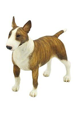 5.5 Inch Poly Stone Bull Terrier Dog Figurine Home Decor Brown White