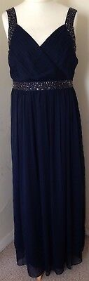 John Lewis Dress Size 16 Evening Ballgown Navy Blue Chiffon Bridesmaid Prom Ball