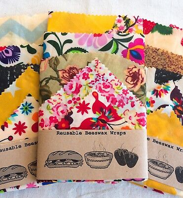 """Large Set Of 5 """"Eco Habit"""" Beeswax Food Wraps, Variety Of Fabric ,Handmade In UK"""