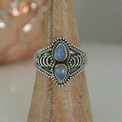 Sterling Silver 925 Double  Rainbow Moonstone Ring Bohemian Style