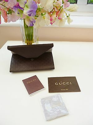 New **gucci** Brown Embossed Leather Tri Fold Sunglasses Case Wallet