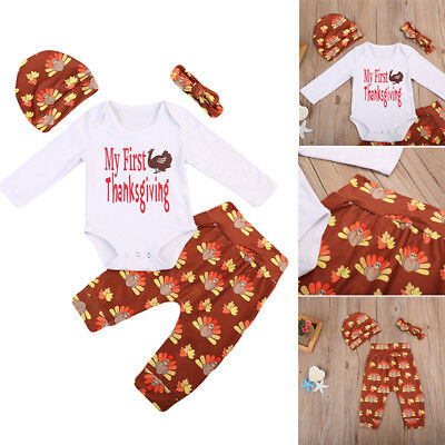 4pcs/set Baby Boy Girl 'My First Thanksgiving' Romper+Pants+Hat+Headband Outfits