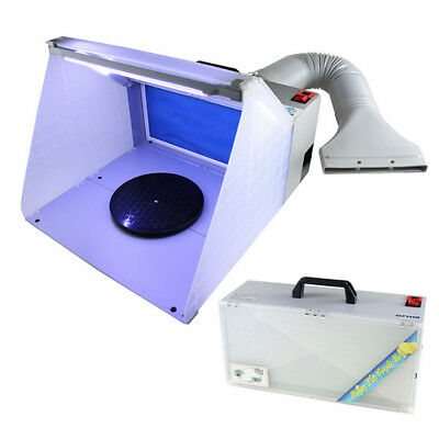 New LED Air Brush Art Paint Craft Portable Spray Booth Hose Filter Extractor