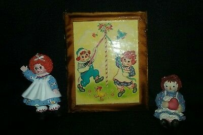 Raggedy Ann Wood Picture And 2 Figurines