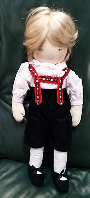 """Vintage All Cloth 15"""" Peter Doll By Pauline Bjonness 1984"""